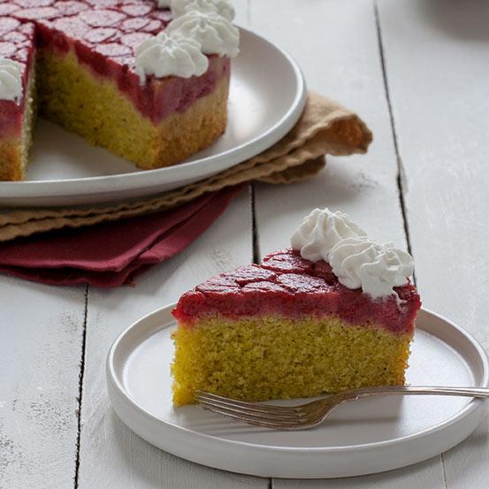 Torta rovesciata pistacchi e lamponi | tortaoragione.it